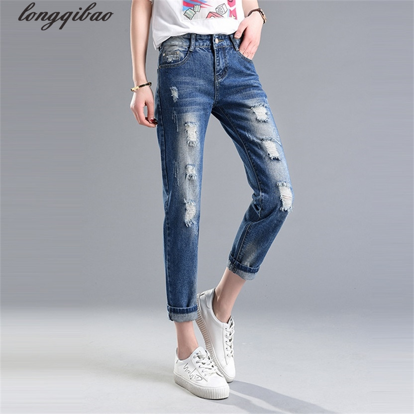 Spring and summer large size women's thin section of loose feet Harlan nine minutes Ripped Scratched  jeans AL7363