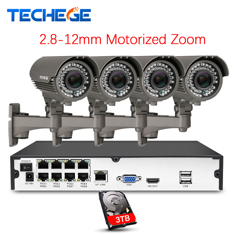 Techege H.265 8CH Système POE 2.8-12mm Zoom Motorisé 4.0MP IP Caméra 2592*1440 Étanche Onvif vidéo Surveillance Kit