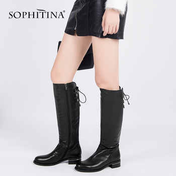 SOPHITINA Fashion Full Genuine Leather Winter Boots Top Quality Comfortable Low Heels Shoes Handmade Wool Fur Woman Boots BA23