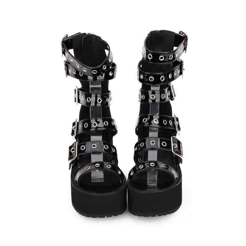 Angelic imprint สาวโมริผู้หญิงพังค์รถจักรยานยนต์รองเท้าเลดี้ lolita ข้อเท้ารองเท้าผู้หญิงสูง trifle รองเท้าส้นสูงฤดูร้อนรองเท้าแตะ 8 เซนติเมตร-ใน รองเท้าบูทหุ้มข้อ จาก รองเท้า บน   2