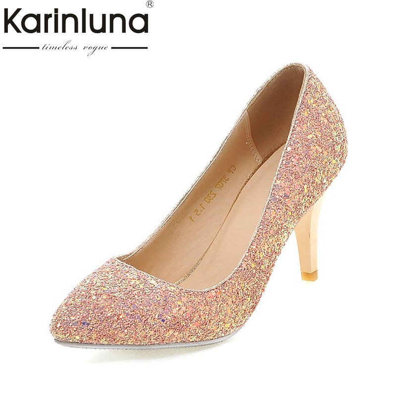 KARINLUNA Large Size 34-43 Office Lady Foowear Bling Upper Thin Heels Woman Shoes Elegant Pink White Black Wedding Pumps