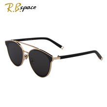 New fashion cat's eye sunglasses ladies brand designer double beam mirror lens sunglasses retro mirror metal ladies sunglasses