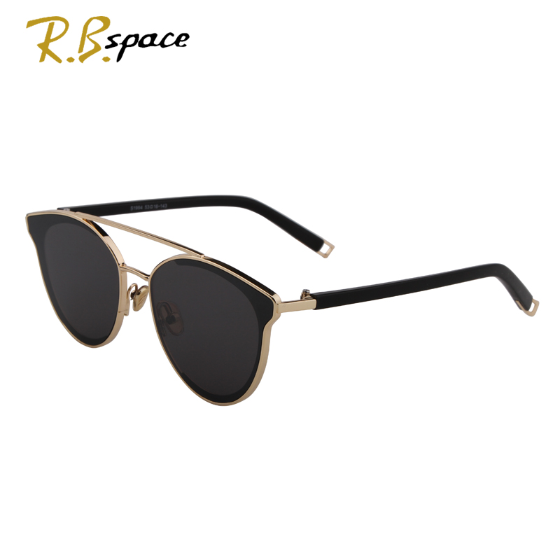 New fashion cats eye sunglasses ladies brand designer double beam mirror lens sunglasses retro mirror metal ladies sunglasses