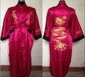 Envío gratis plum negro reversible dos caras de los hombres chinos de satén de seda robe bordado del kimono de baño vestido dragón tamaño m-3xl sz-3