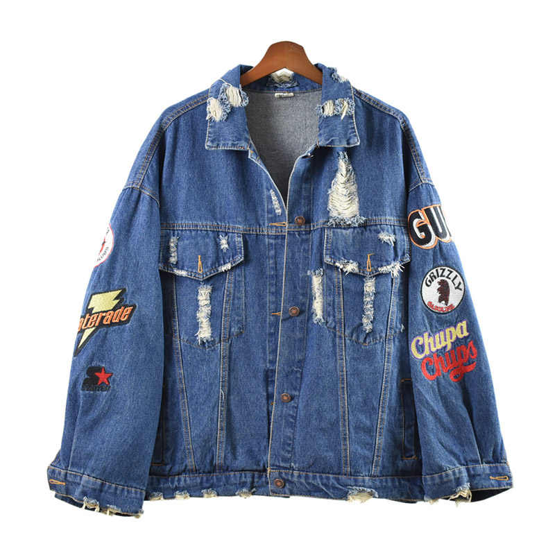 PERHAPS U Women Short Cropped Denim Blue Oversize Punk Jacket Button Rock And Roll Turn Down Collar Letter Embroidery Hole C0070