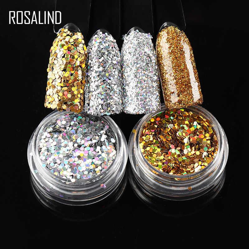ROSALIND Nail Glitter holograficzny proszek magiczne lustro Chrome Pigment żelowy lakier do paznokci paznokcie sztuka oryginalny zestaw do Manicure w proszku