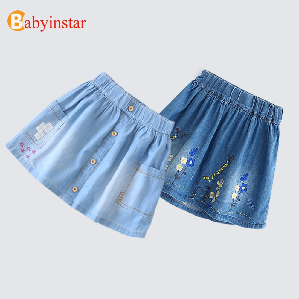 Babyinstar 2018 New Girls Skirts Cute Embroidery Floral Denim Skirt For Summer Style Girls Jeans Skirts Children Casual Outfit