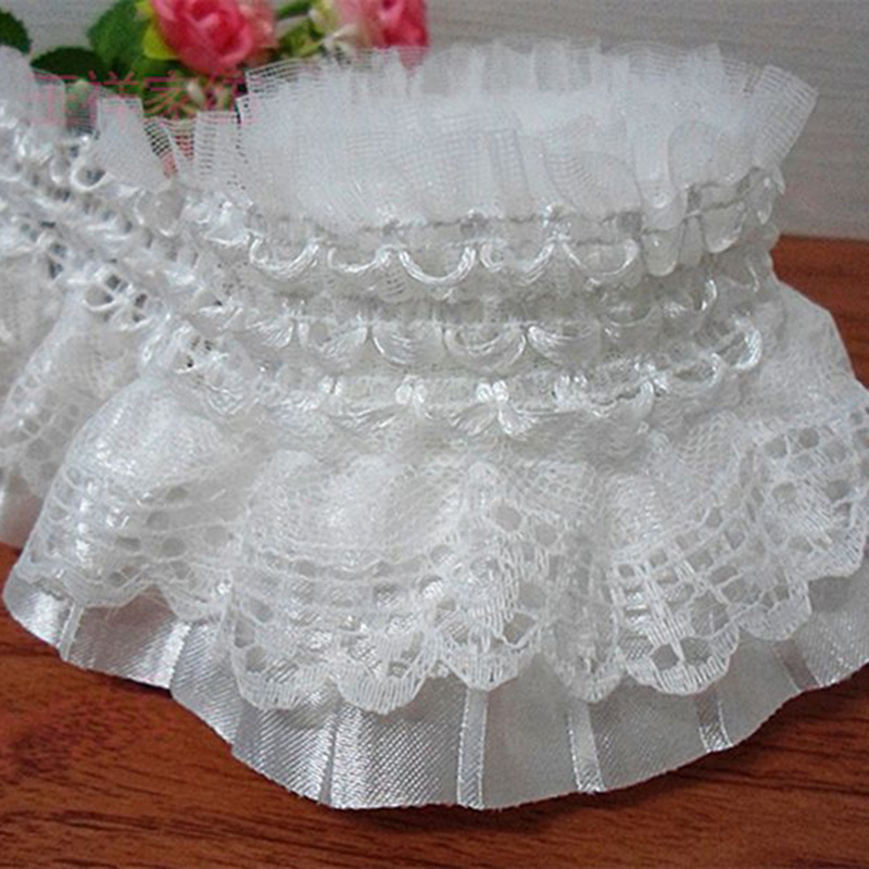 5Yards Pleated Organza Lace Edge Trim жиналған Mesh Ribbon Tailing Crafts Шифон таспа таспасы Ruffle Lace мата 2 қабат