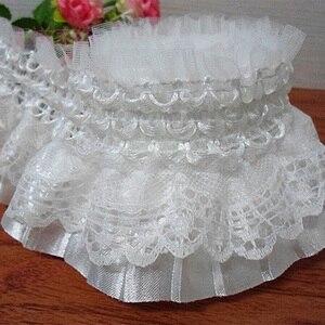 5Yards Pleated Organza Lace Edge Trim Gathered Mesh Ribbon Sewing Crafts Chiffon Tape Ribbon Ruffle Lace Fabric 2 Layers
