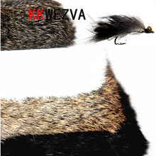 KKWEZVA 1 PC Whole sheet Rabbit Fur Hare Zonker Natural color fly making material for fly fishing lure making insect carp bait kkwezva 2m rabbit fur hare zonker color for fly tying material streamer fishing flies 5mm wide fly fishing lure insect trout