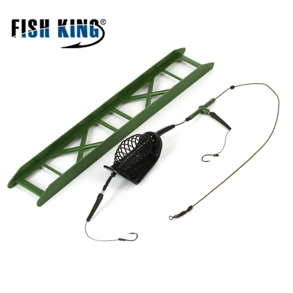 FISH KING Fishing Bait Cage 20g -80g Fish Bait Lure Copper Trap Basket Feeder Holder With Hooks Carp Fishing Tackle Tool 2017 hot fishing bait cage carp fishing accessories swivel with line hooks for fishing tackle free shipping