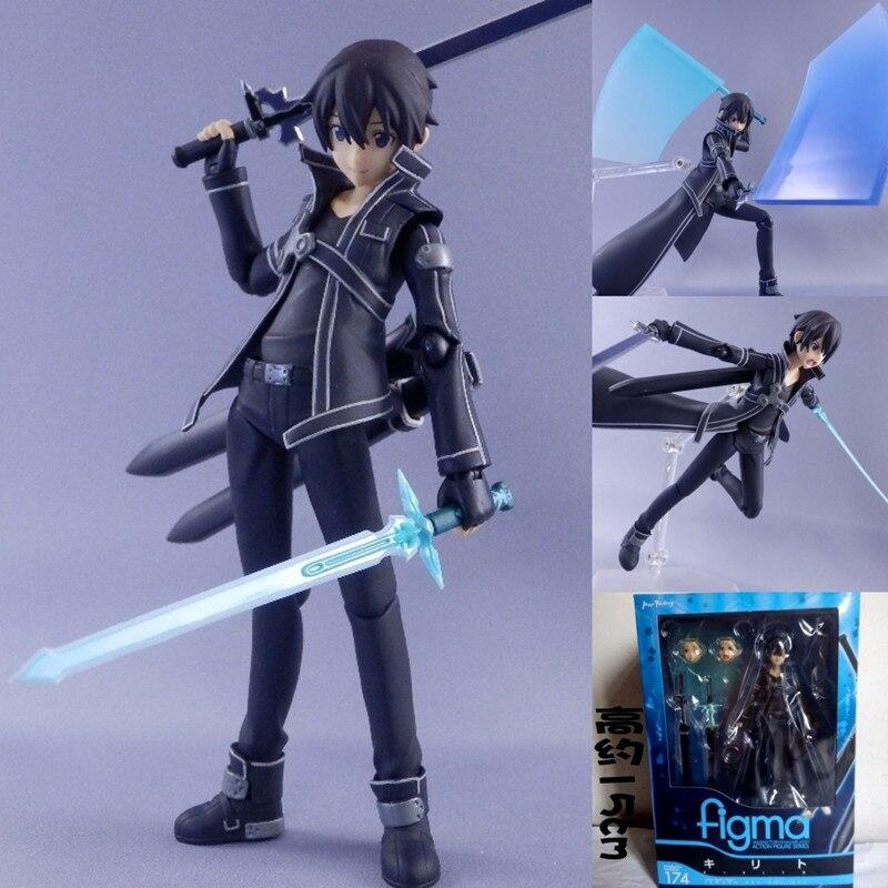 Figma 174 Sword Art Online SAO Kirito Japanese Anime Marvel Action Figures Model Toy Birthday Gifts Hot Sell