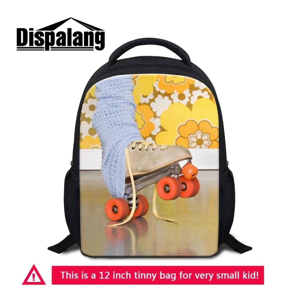 Dispalang 12 Inch Mini Schoolbag Bookbag For Little Boys Girls Skating Movement Pattern Children Small Rucksack For Preschoolers