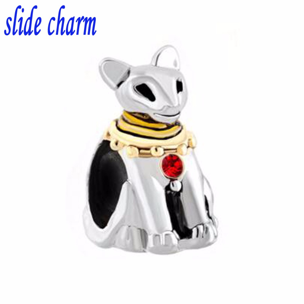 slide charm Free shipping dog wearing golden necklace crystal beads fit Pandora charm bracelet animal lover mother a