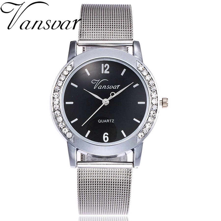 Vansvar Brand Fashion Gold Silver Mesh Band Quartz Watch Casual Women Metal Stainless Steel Watches Relogio Feminino Gift Clock