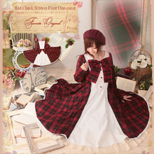 Autumn Japanese Plaid Cute Bow Button Lolita Dress Women Tartan Clothing Knitting Cotton Lattice Mori Girl Retro Dresses T202