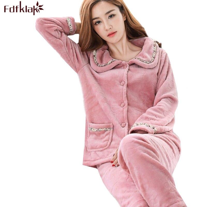 Fdfklak New casual pajamas for women long sleeve flannel pyjamas women large size women's pijamas set thick warm sleepwear suit-in Pajama Sets from Underwear & Sleepwears