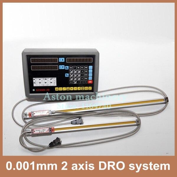 Haute Précision ensemble complet 1um miil tour 2 axes DRO système et 0.001mm linéaire codeur échelle
