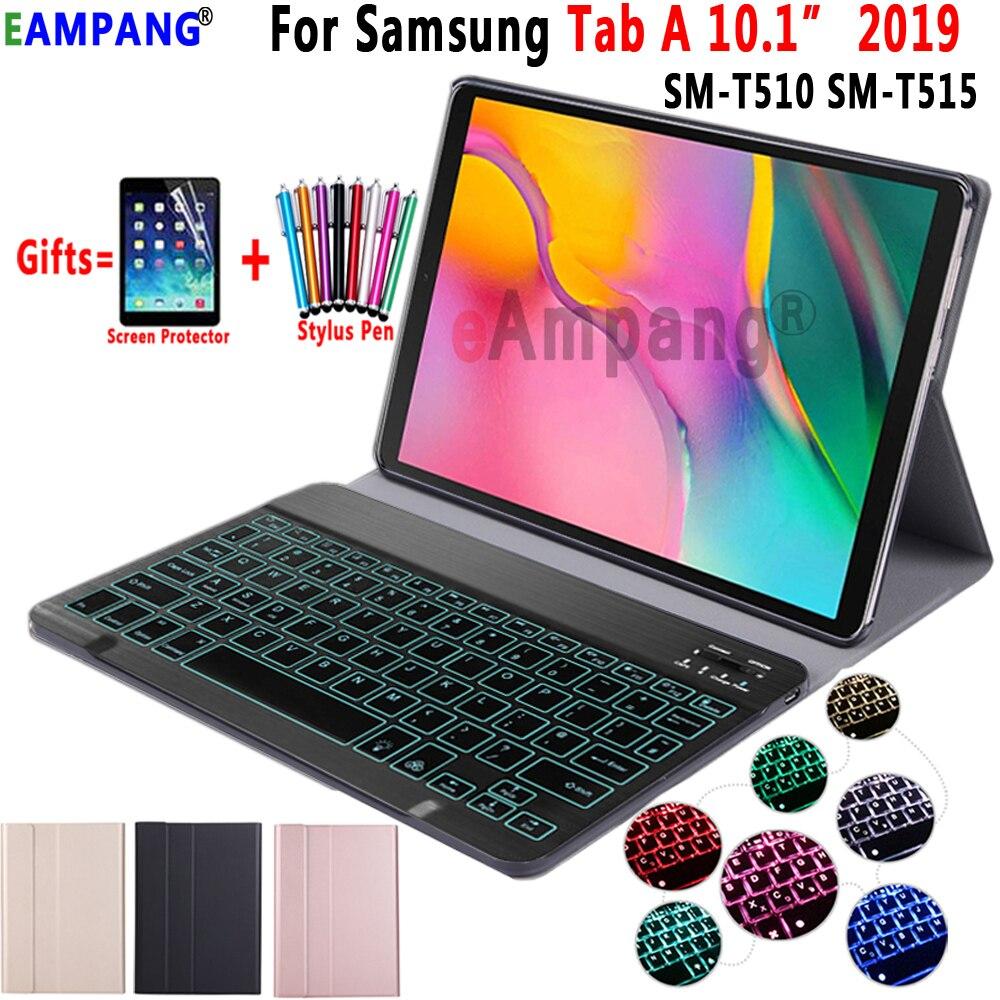 Caso para Samsung Galaxy Tab 10.1 2019 Capa de Couro Teclado Caso T510 T515 SM-T510 SM-T515 7 Cores Retroiluminado Bluetooth teclado