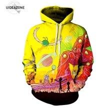 Uideazone Новинка 2017 года поступление Рик и Морти чужой 3D печатных Худи пуловер с капюшоном трип планета работа толстовка плюс Размеры 3XL