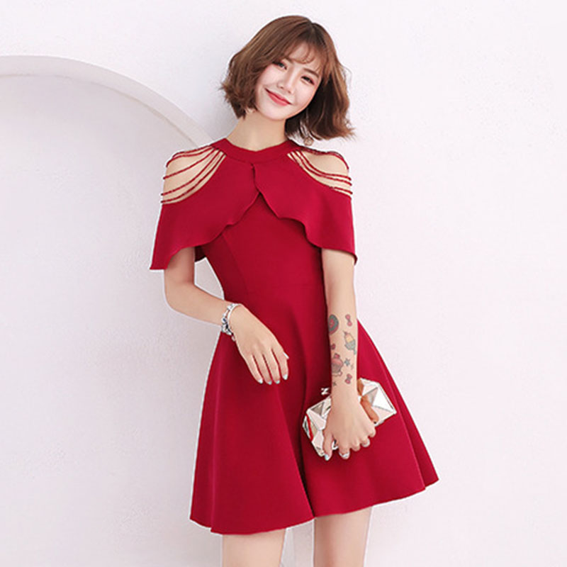 Elegant Girl Short   Cocktail     Dresses   With Sleeves Red Evening Gown O-neck Vestidos De Noite Para A Festa Sexy Abendkleider