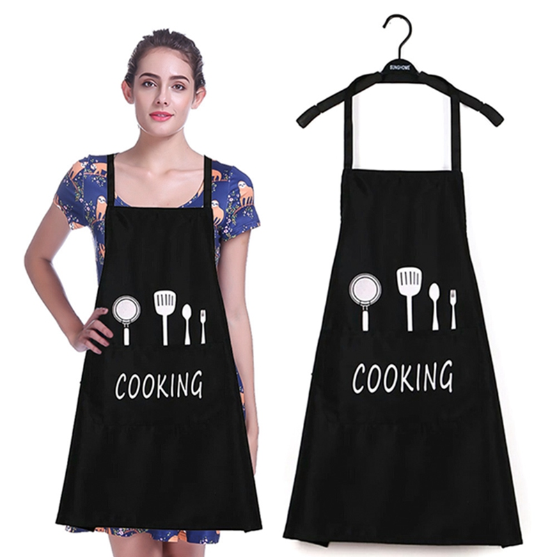 Waterproof And Oilproof Fashion Apron 2018 New Women Men Apron Commercial Restaurant Home Spun Poly Cotton Kitchen Aprons Aprons Household Cleaning Protections