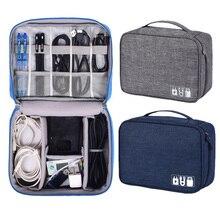 Travel Cable Organizer Bag For USB Data Charging Digital Storage Waterproof Portable Electronic Zip Phone Organiser Case