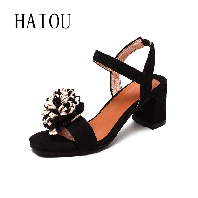 227179012498 HAIOU Brands 2017 low heels sandals women Thick heel Sandals Women open toe  Summer shoes sexy sandals with floral shoes elegant