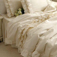 New luxury bedding set Alec high grade high density cotton Satin bedding Embroidered Lace Ruffle duvet cover elegant bedspread