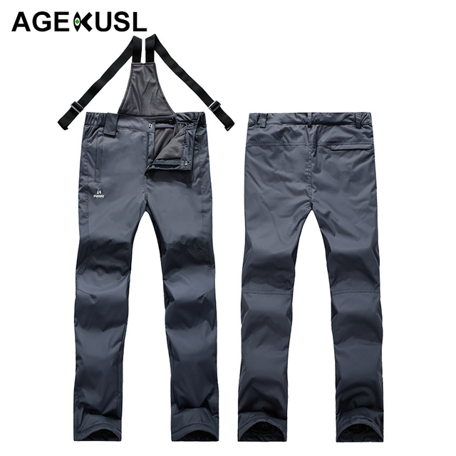 AGEKUSL Men Women Skiing Snowboarding Bibs Pants Waterproof Windproof  Thermal Sports Trousers Winter Snow Hiking Ski Skate Pants ad548b50f