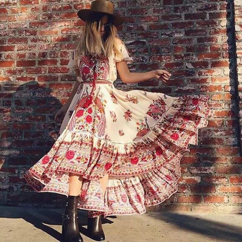 Imprimé Floral Bohème Maxi Robe D'été Longue À Épaules Dénudées Sexy Vintage Coton Hippie Chic Vacances Robes De Plage Pour Les Femmes