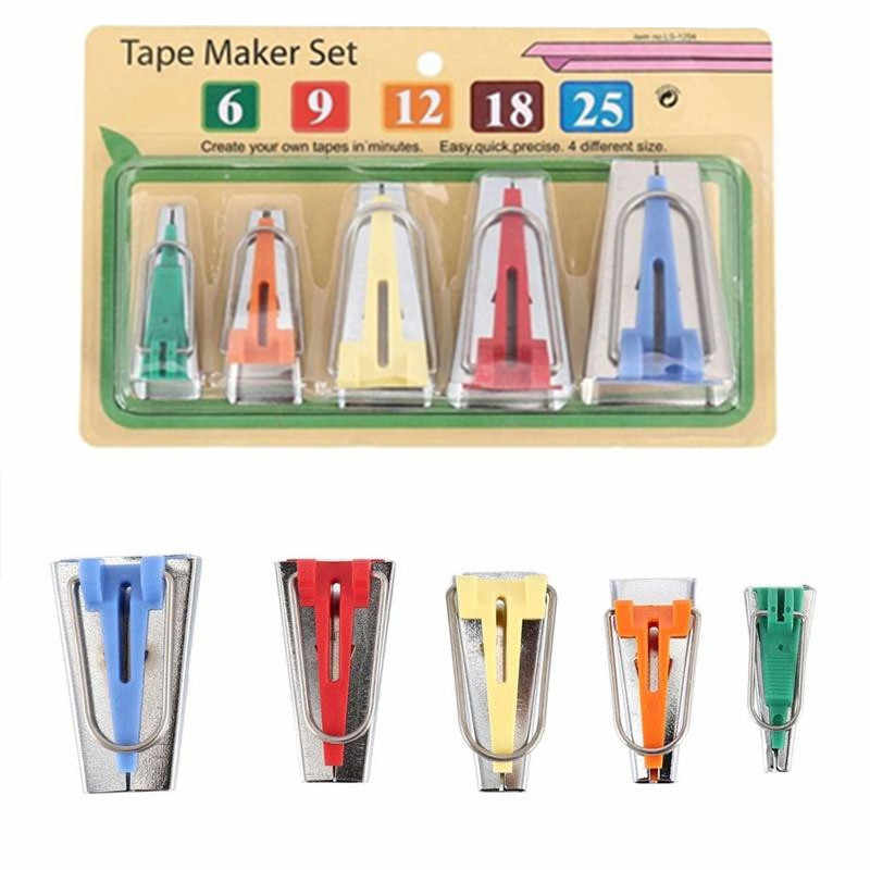 Sewing Accessories Bias Tape Makers - 5 size 6mm 9mm 12mm 18mm 25mm bias binding Tool Sewing Quilting 5BB5589