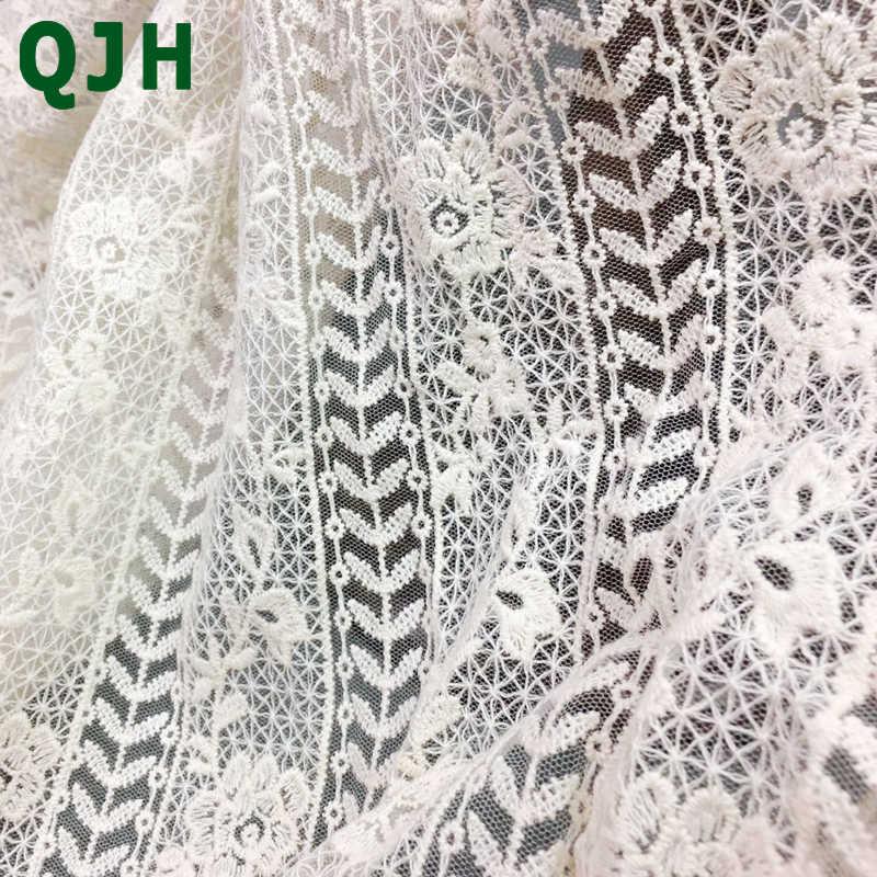 1 חצר QJH לבן רטרו רקמת חוטי כותנה האופנה בד תחרה שמלת תחרה עבודת יד DIY בד מלאכת תפירה רקומה YX579