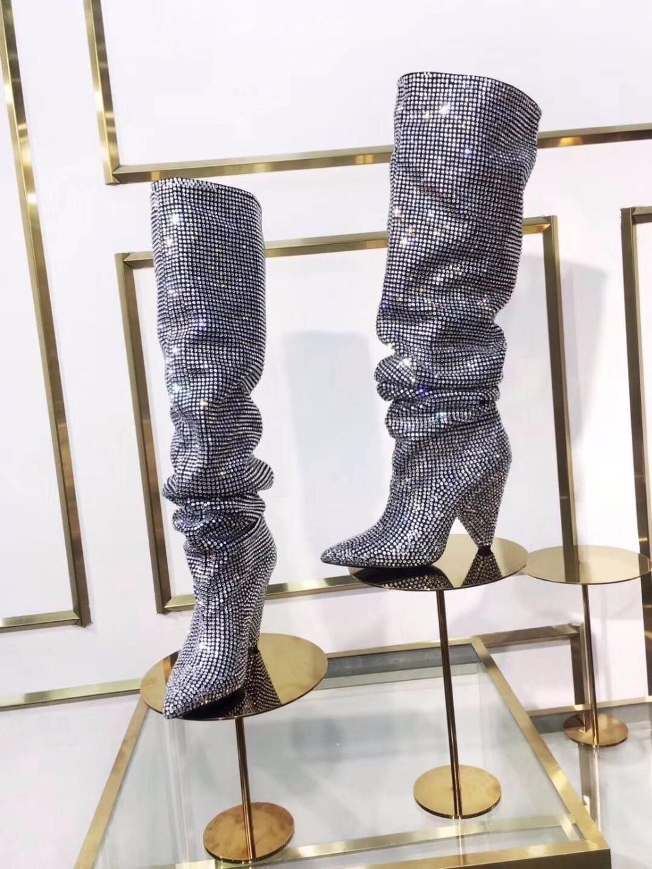 Chaussures Hiver Véritable Luxe As New Femmes Couleurs Talons Rouge Cuir Pic Pic Haute Concepteur Mujer Zapatos Bottes De as Genou En Automne TqzgTZ