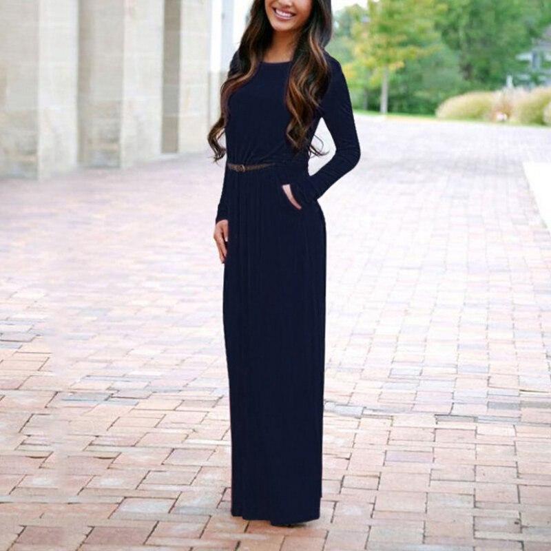 Vestido Feminios 2017 Autumn XL Plus Size Long Dresses Pleated Long Sleeve Solid Colors Casual Maxi Dress