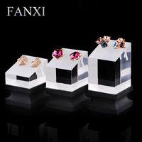 FANXI Frete grátis personalizado China 5 set/lote jóias expositor stand com pedestal preto e transparente anel conjunto de exibição de jóias
