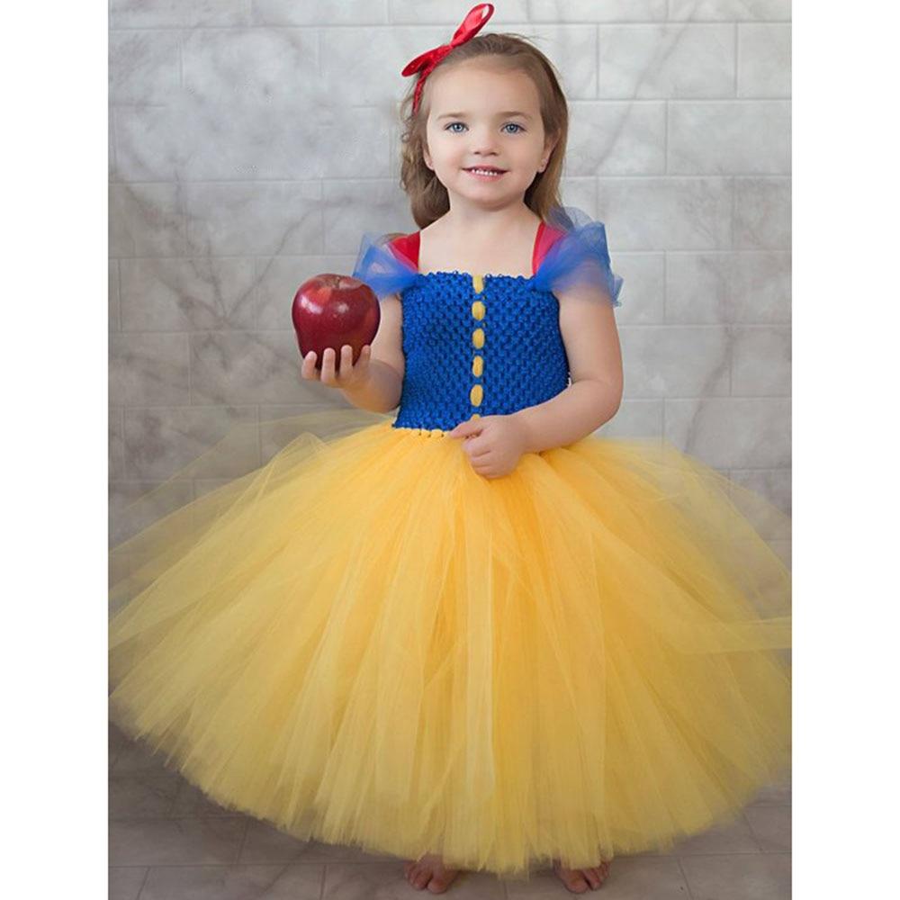 Snow White Princess Tutu Dress Bow Girls Baby Dress Halloween Birthday Party