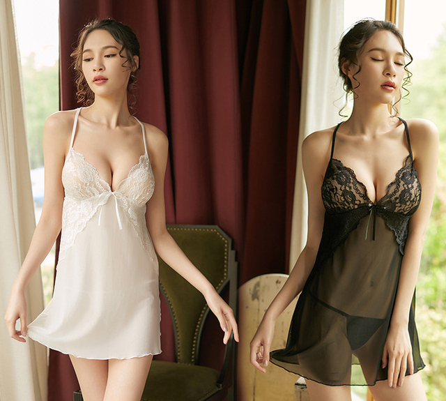 dbcc1345055 Sexy Chinese Nightgown Women Nightwear Halter Lingerie Nightdress Plus Size  Sleeping Babydoll Dress Lace Sleepwear with G-string