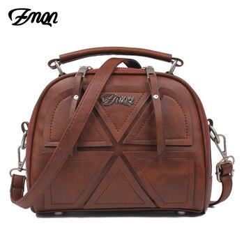 ZMQN, bolsas de mensajero para mujeres de marca famosa 2018 Vintage Retro de las mujeres Crossbody bolsa de cuero de la PU bolsos para mujeres de empalme A523