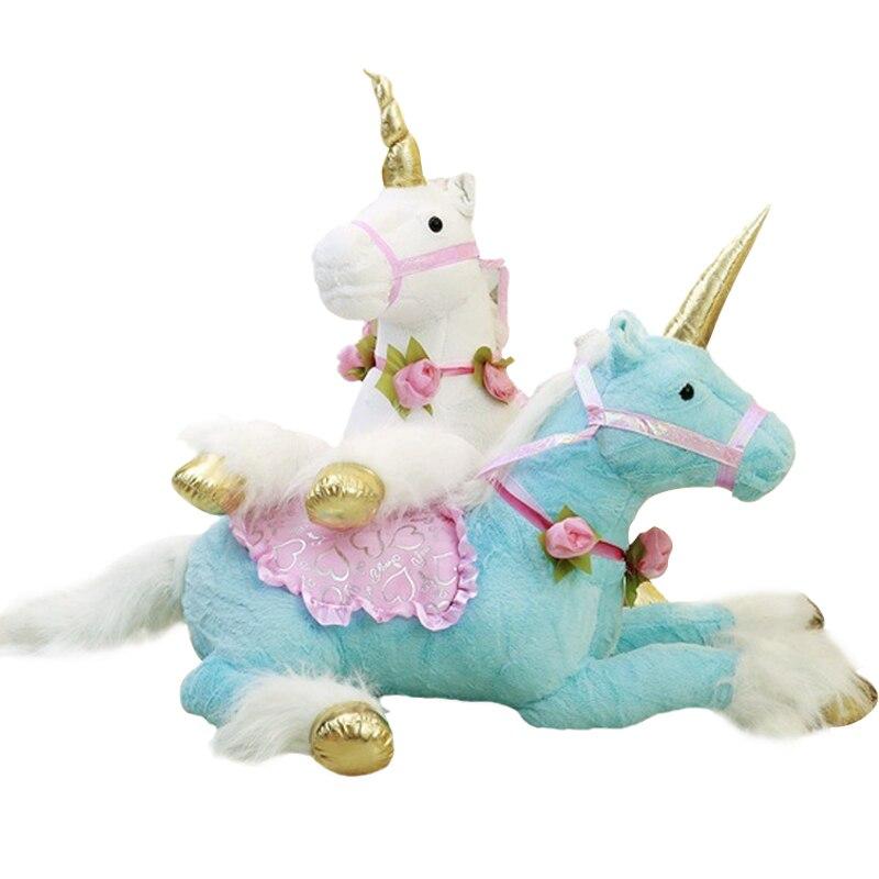 1 pc 100 cm 3 couleurs mignon licorne cheval en peluche jouets énorme peluche Animal poney poupée photographie accessoires pour enfants créatif cadeau d'anniversaire