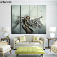 4 Piece Printed Abstract Angel Girls Wings Bow Game Canvas Art Painting Home Decor Framed Artwork