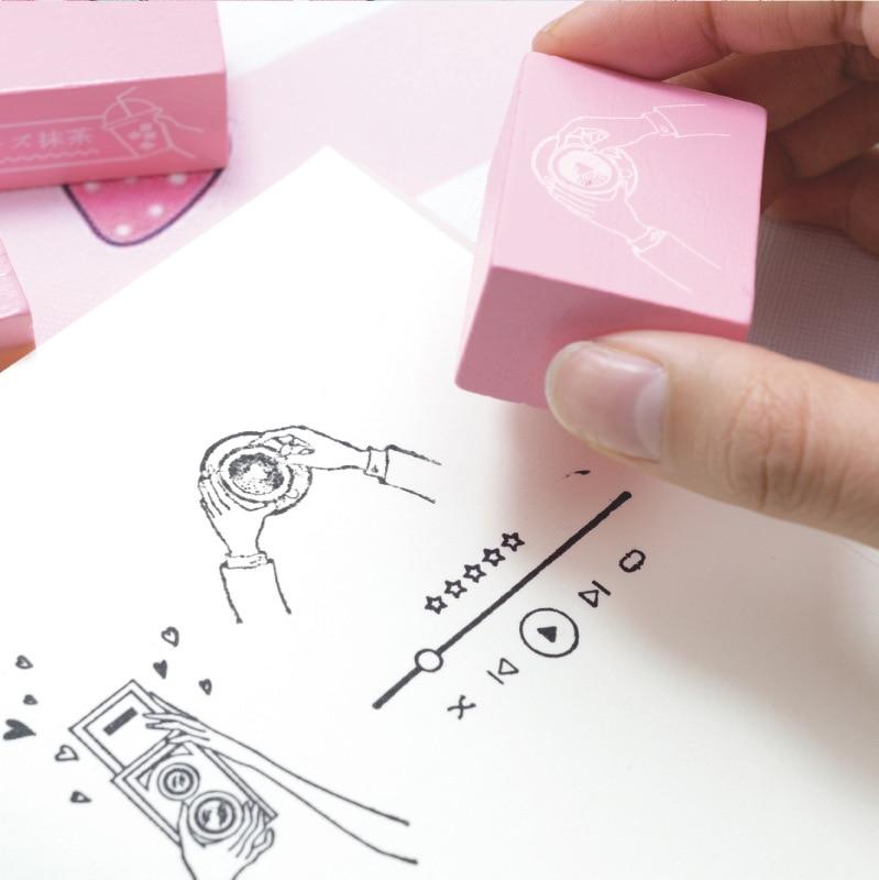 1Pcs Kawaii Wooden Rubber Stamps Pink Decoration Planner Stamp DIY Craft Standard Stamp For Scrapbooking Bullet Journal Diary