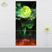 Green Moon City View Wall Art HD Prints Canvas Art Painting Modular Picture Vintage Poster Canvas Painting Home Decor 3 PIECES frameless dancing girl oil painting butterfly wall poster canvas art hd modular picture home decor 3 pieces