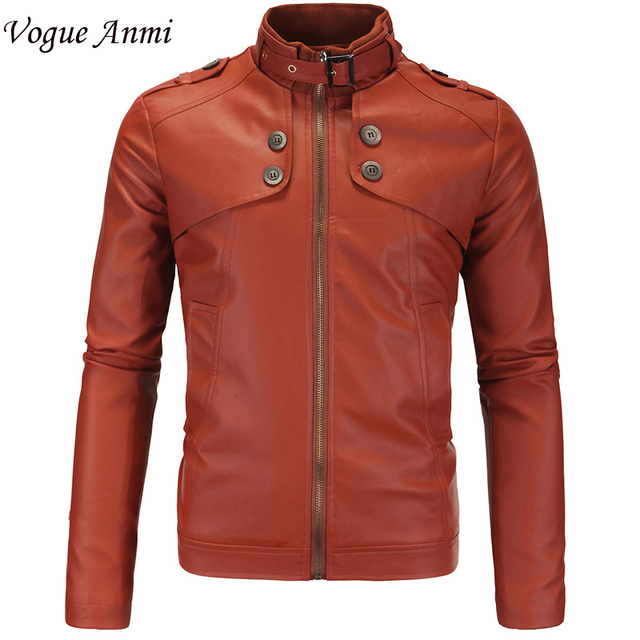 18cdf1ba4 Vogue Anmi.New Winter Autumn Brand PU Leather Jacket Men Motorcycle Leather  Jackets Overcoat Jaqueta High Quality Size M 4XL-in Faux Leather Coats ...