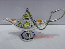 ZSR 813+++++Copper Brass CHINESE crafts decoration Asian 2pcs ovely pink blue white glazed Phnom Penh lamp Arab TDP Wine Cup(China)