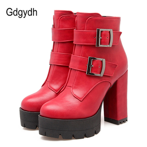 Image 1 - Gdgydh Wholesale Spring Women Boots Platform Rubber Sole Ladies Casual Shoes Plus Size Black High Heels Zipper Red Leather Boots