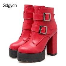 Gdgydh 도매 봄 여성 부츠 플랫폼 고무 단독 숙녀 캐주얼 신발 플러스 크기 블랙 하이힐 지퍼 레드 가죽 부츠