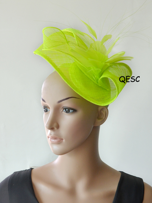 e325fefe Aliexpress.com : Buy NEW design special shape Sinamay fascinator hat w/ feather  flowers for Kentucky derby,melbourne cup,ascot races, wedding.church from  ...