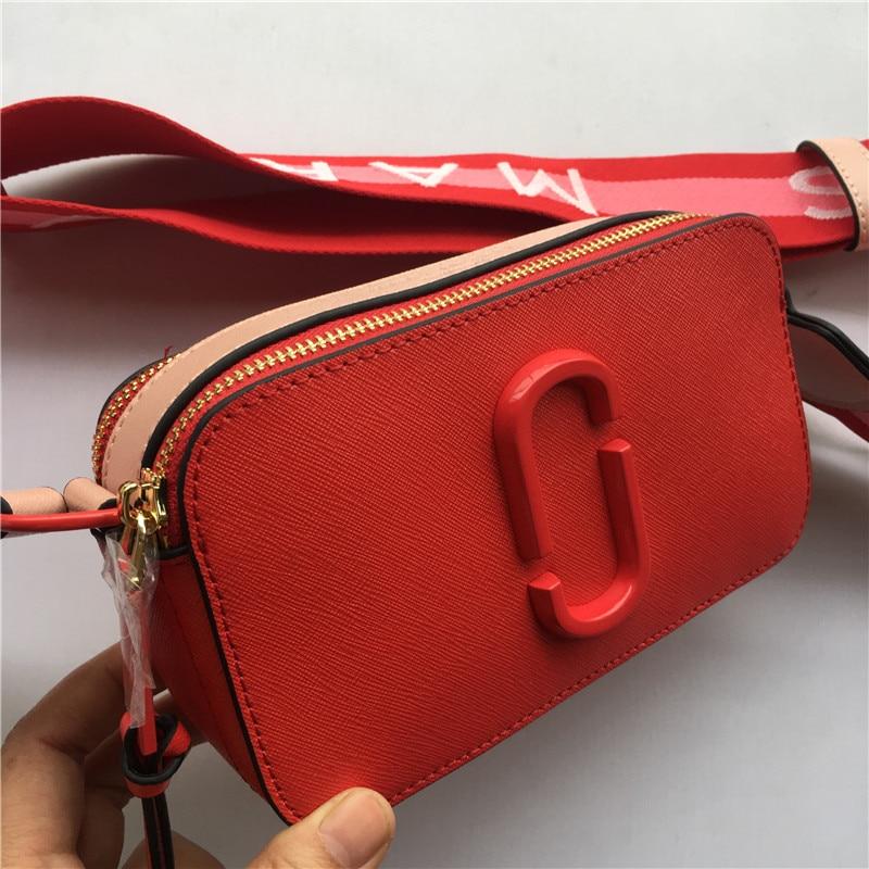 Leather new camera bag mini wide shoulder strap mixed color small square bag leather ladies bag handbag diagonal bag wallet