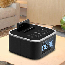Bedside Mini LED Alarm Clock Bluetooth Speaker Stereo Music Player FM Radio USB Port Charging AUX Slots For phone/ tablet